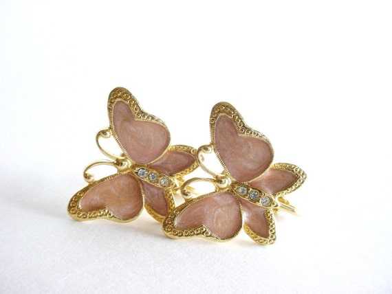 Pink Butterfly Clip Earrings - Vintage - Opalescent Pink and Gold Tone
