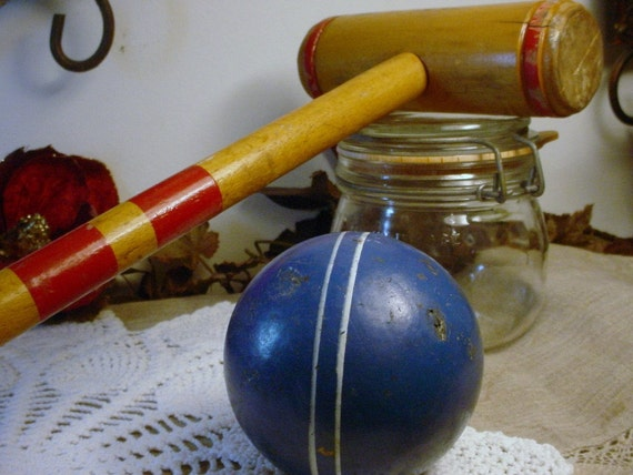 Croquet Ball and Mallet Vintage