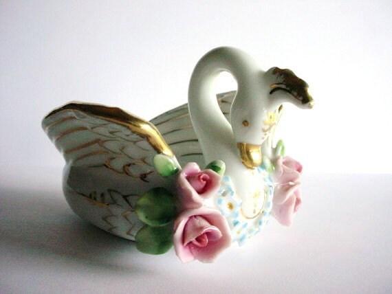 Lefton Swan China Dish Vintage Japan