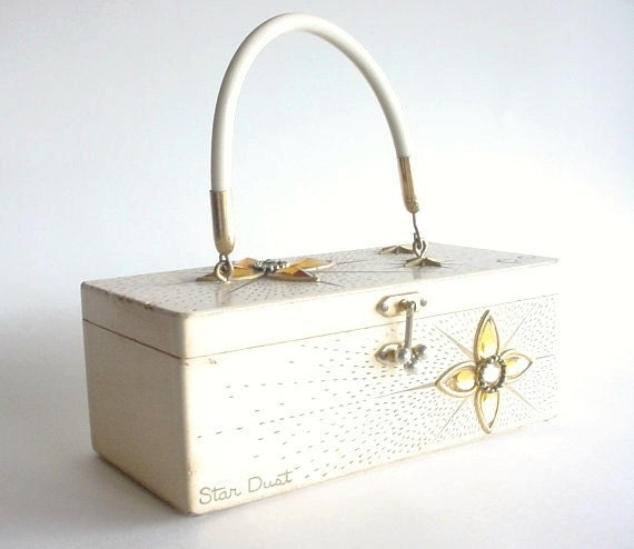 RESERVED FOR JO - Enid Collins Wooden Purse - Box Purse - Star Dust - 1960s Vintage - White Wash -Wedding Card Box