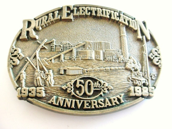 Belt Buckle - Rural Electrification 50th Anniversary - Solid Brass - Vintage 1980s