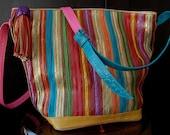 Vintage Multi-colored Sharif Bucket Bag with Bead & Leather Tassel