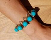 Vintage Silver & Inlaid Turquoise Bracelet