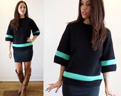 Mod Vintage 60's Black Turquoise Italian Wool Sweater Bell Sleeve Striped by The May Co. Cleveland