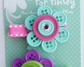 Set of 2 Button Flower Hair Clips (purple/green and pink/blue flowers)