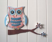 Owl 3D Wall Art Set - nursery decor - whimsical - owl decor - flowers and buttons - peach, blue