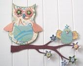 Owl 3D Wall Art w/ bird - Nursery decor - whimsical - flowers and buttons - owl decor - yellow, blue, green, peach