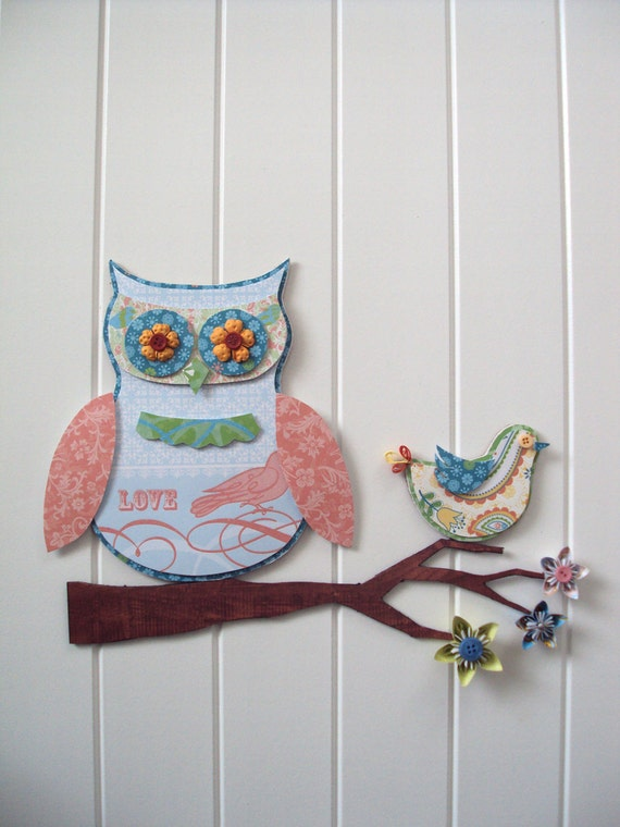 Owl 3D Wall Art Set w/ bird - Nursery decor - whimsical - flowers and buttons - peach, blue, green, yellow