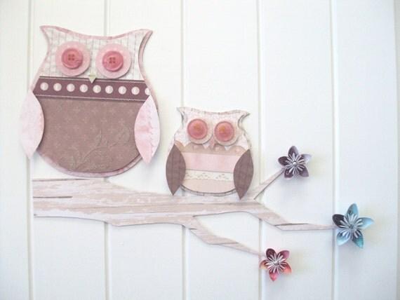 Owl-n-Owlet 3D Wall Art Set - nursery decor - owl decor - owl wall art - pink, brown, cream