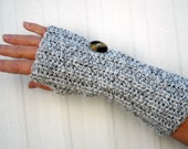Fingerless Gloves Gray Crochet with Vintage Buttons FREE SHIPPING