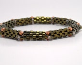 Green Bangle Bracelet Woven Green Metalic Beads Copper Accents
