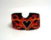 Beaded Cuff Bracelet Punk Heart and Flame Black