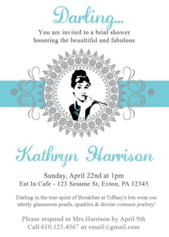 Breakfast at Tiffany's Bridal Shower Invitation  -Digital File Only-
