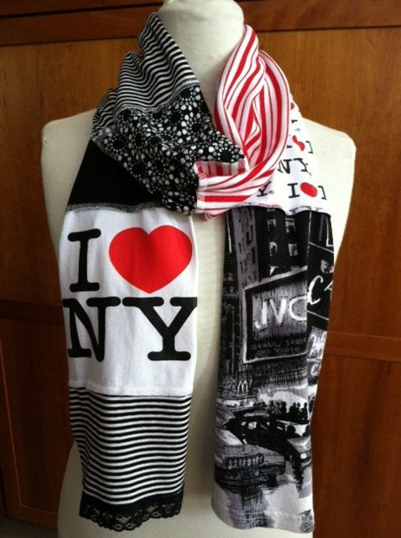 upcycled t shirt scarf i ny nyc new york city