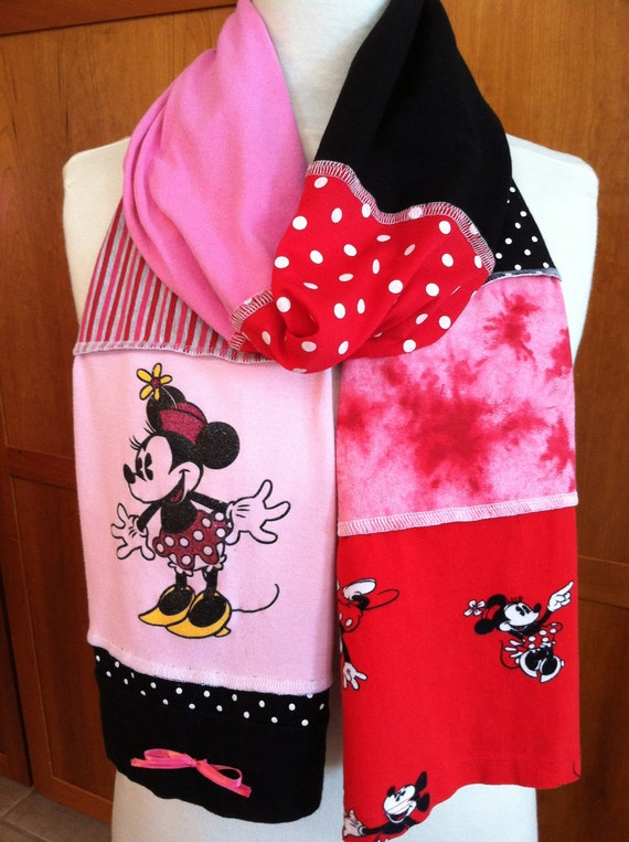 UPCYCLED t-shirt scarf... MINNIE MOUSE... DIsney... pink, red, black, grey, white