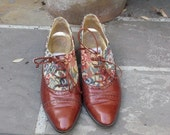 Brown Leather Oxford  & Tapestry Shoes size 6 1/2