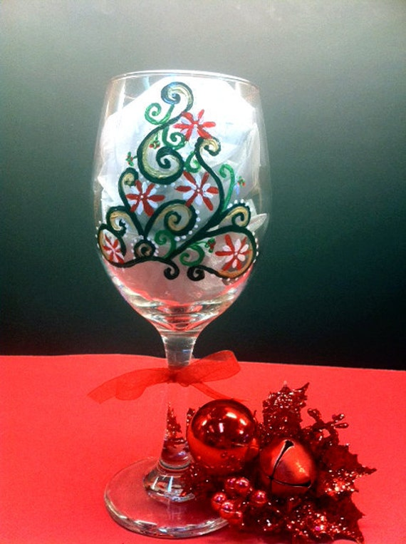 Items similar to Hand Painted Wine Glasses Christmas Tree on Etsy