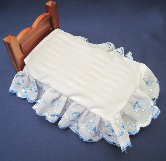 Miniature Dollhouse Blue Embroidered Bed Skirt on Sale