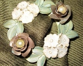 Vintage Floral Wreath Pin with Pearls