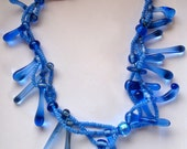 Necklace lampwork glass bead, abstract handmade- periwinkle blues.- modern jewelry