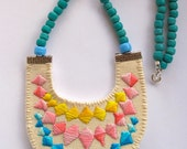 Colorblock bib necklace embroidered banner bunting triangle with Native American trade beads modern jewelry