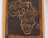Father's Day hand carved and stamped orange card with envelope original quote Kwanzaa Black History Month African adoption