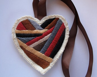 Valentines day heart ornament hand embroidered in browns with surprise love letter for him Fathers day