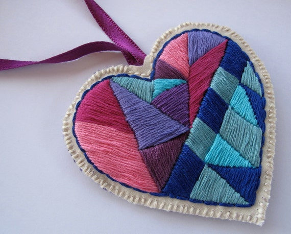 Heart ornament in pinks purples and blues handmade embroidered home decor for Christmas or Valentine's Day