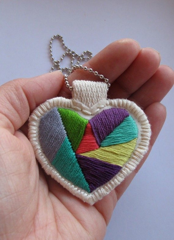 Teacher gift heart necklace handmade embroidered color block lime green purples emerald green gray pink on silver ball chain