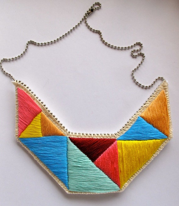 Geometric bib necklace embroidered triangles in bright colors and dramatic design