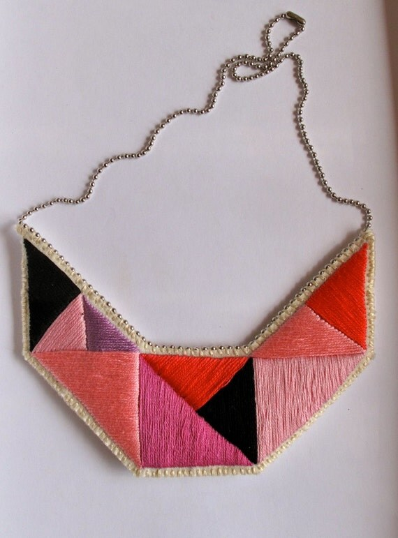 Bib necklace embroidered geometric triangles in bright colors and dramatic design