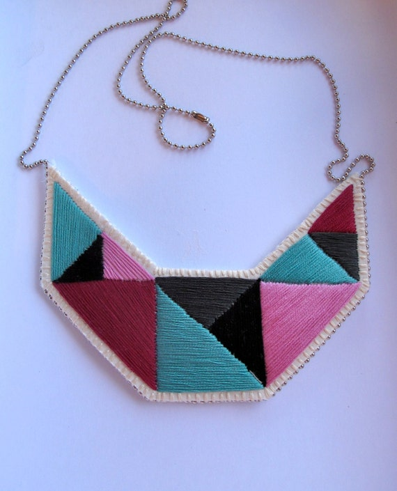 Geometric bib necklace embroidered triangles in beautiful colors and dramatic design Summer fashion