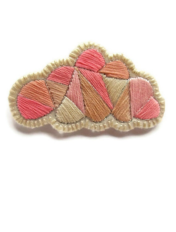 Pink cloud geometric brooch hand embroidered with a silver lining