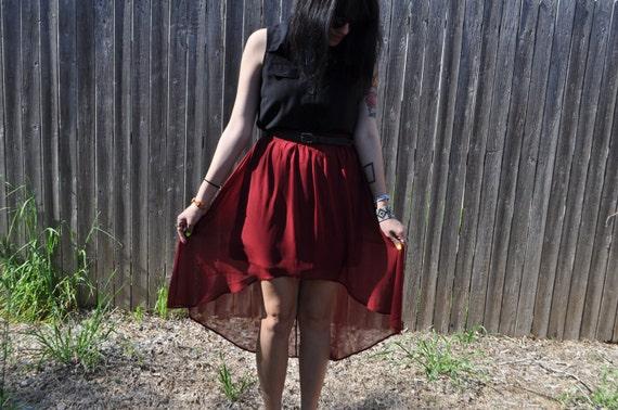 Burgundy High Low Chiffon Maxi Skirt Size Medium FREE SHIPPING