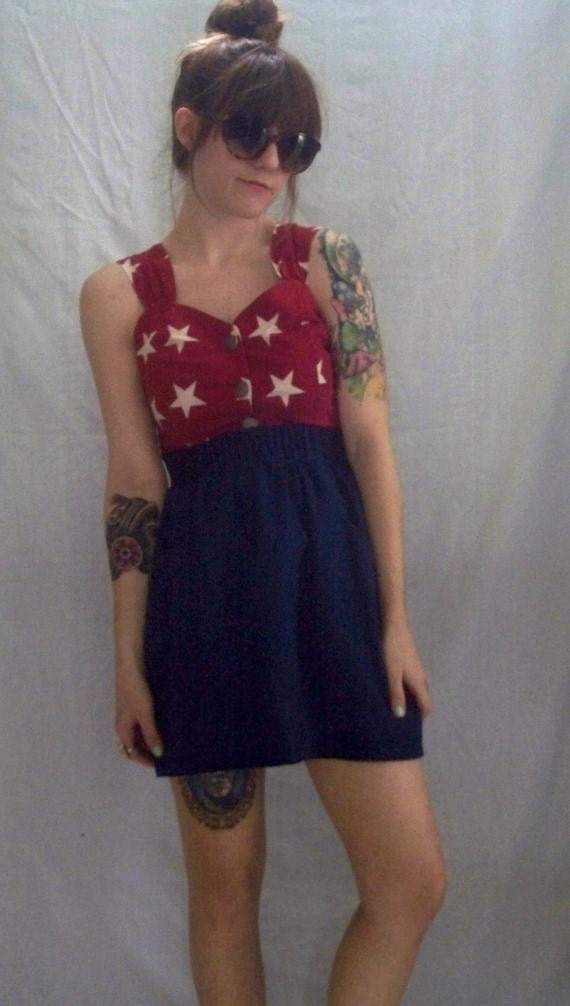 Cropped Button Up Red Tank Top with White Stars and Open Back Size Small