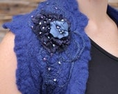 Felted night sky blue ruffle wool bolero, shrug, vest, wrap with roses free size