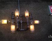 Wall  Light. Lamp. Beer bottles. Plumbing pipe & fittings. Wall light. Lighting Fixture.