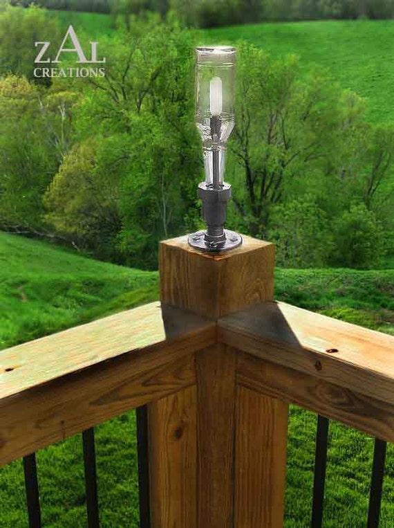 Deck Lamp. Beer bottle, Plumbing pipe &  fitting. Deck light. Lighting Fixture.