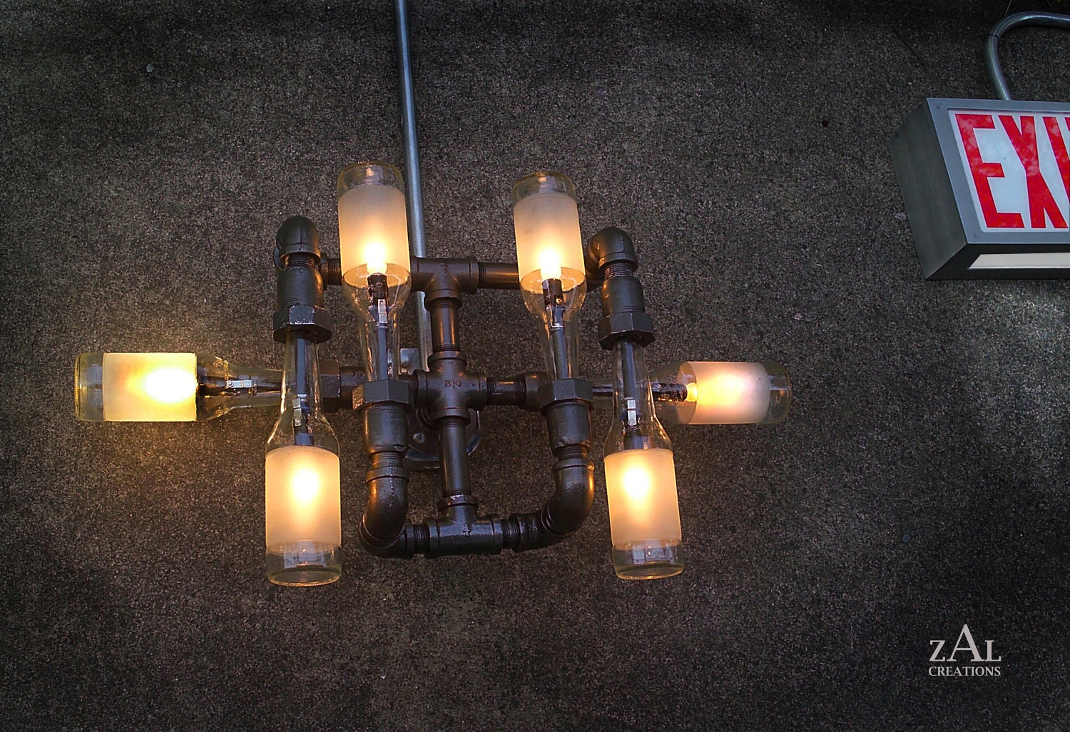 Wall light lamp beer bottles plumbing pipe fittings for Pipes and lights