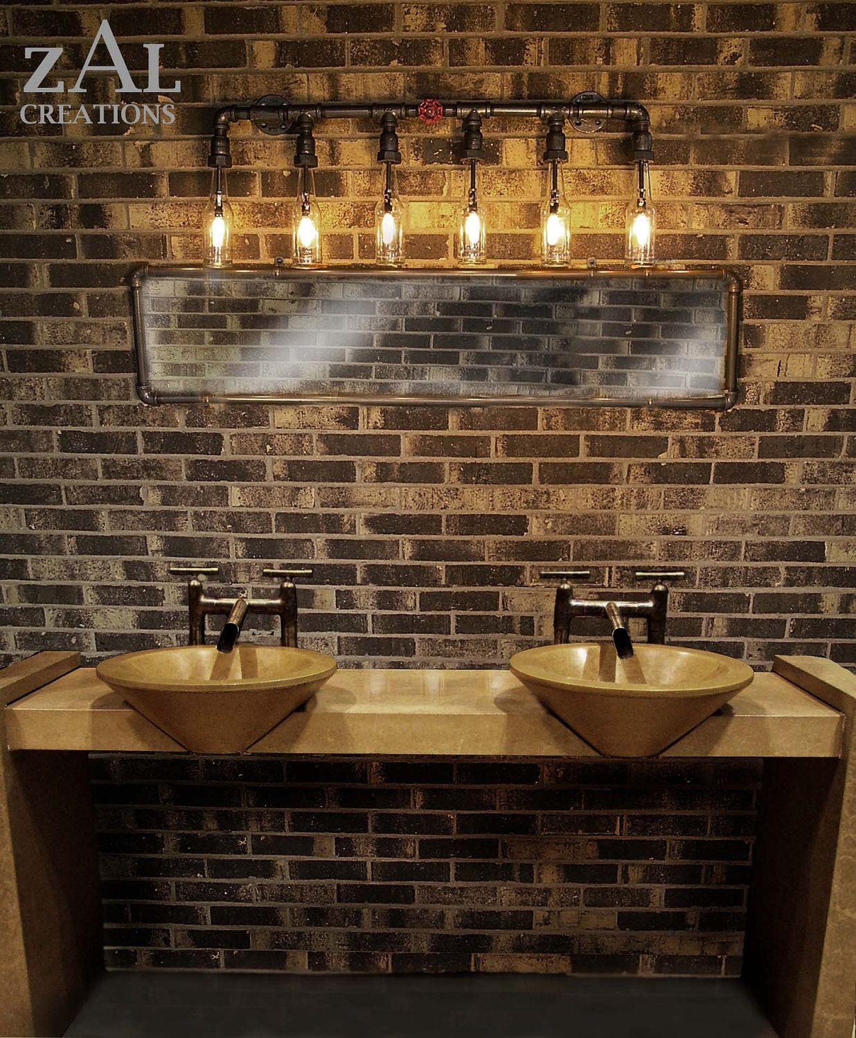 Vanity light wall light beer bottles plumbing pipebathroom for Bathroom 5 light fixtures