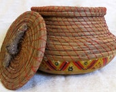 Gourd and Pine Needle Basket with Lid