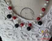 red, white, crystal and black beaded necklace