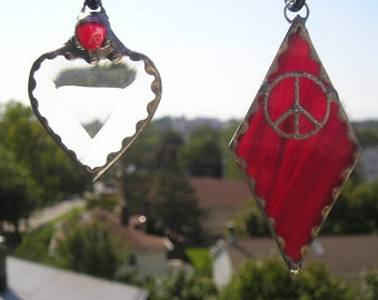 Love and Peace|Stained Glass|Stained Glass Suncatchers|Pair|Small Love & Peace Suncatchers|Heart|Peace Sign|Red|Handcrafted|Made in USA