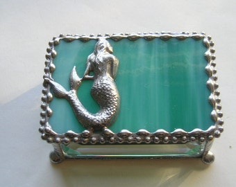 Stained Glass Jewelry Box Mermaid Mermaid Jewelry Box Mermaid Trinket Box Jewelry Jewelry Storage Mermaid Design Handcrafted Made in USA