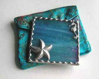 Stained Glass Purse Mirror|Pocket Mirror|Seahorse|Starfish|Beach|Nautical|Turquoise|Bath & Beauty|Makeup Tool|Handcrafted|Made in USA