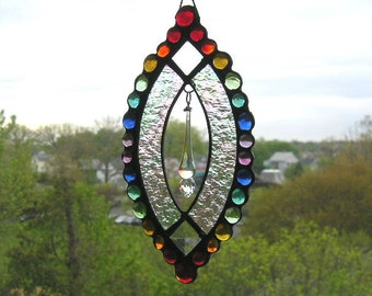 Stained Glass Art Suncatcher|Rainbow Suncatcher|Swarovski Crystal|Rainbow Gems|Home & Living|Home Decor|Handcrafted|Made in USA