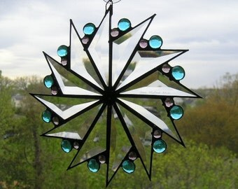 Stained Glass Suncatcher|Glass Suncatcher|Pinwheel Design|Turquoise Gems|Amethyst Gems|Beveled Glass|Stained Glass|Handcrafted|Made in USA