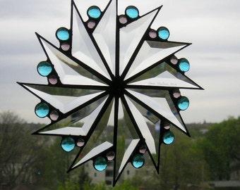 Stained Glass Suncatcher Glass Suncatcher Pinwheel Design Turquoise Gems Amethyst Gems Beveled Glass Stained Glass Handcrafted Made in USA