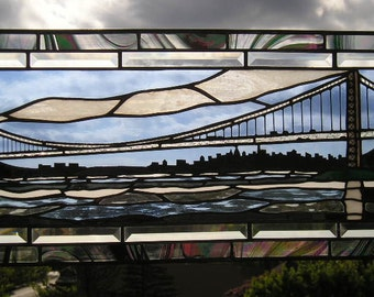George Washington Bridge|New York City|New York Skyline|Stained Glass Panel|Art & Collectibles|Glass Art|Panel|Handcrafted|Made in USA