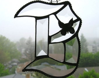 Stained Glass Initial B|Letter B|B|B Monogram|B Suncatcher|Glass Art|Butterfly|Home & Living|Home Decor|Ornament|Handcrafted|Made in USA